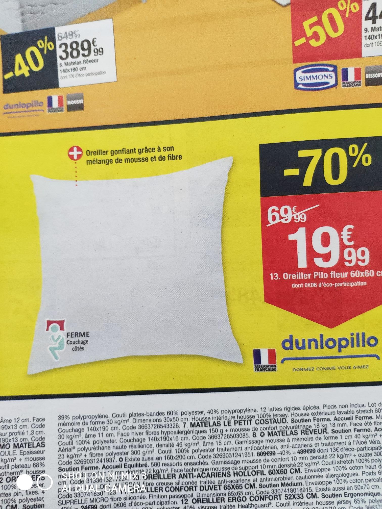 Oreiller Dunlopillo Pilo Fleur - 60x60cm