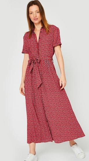Robe chemise imprimée carmin - Taille au choix