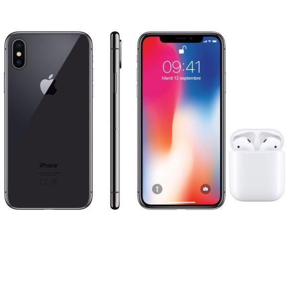 """Smartphone 5.8"""" iPhone X - Gris sidéral, 256 Go (Reconditionné) + Écouteurs sans-fil AirPods 2"""