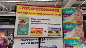 Couches Pampers Mega Pack - Baby-dry ou Active Fit (avec 13,45€ sur la carte)