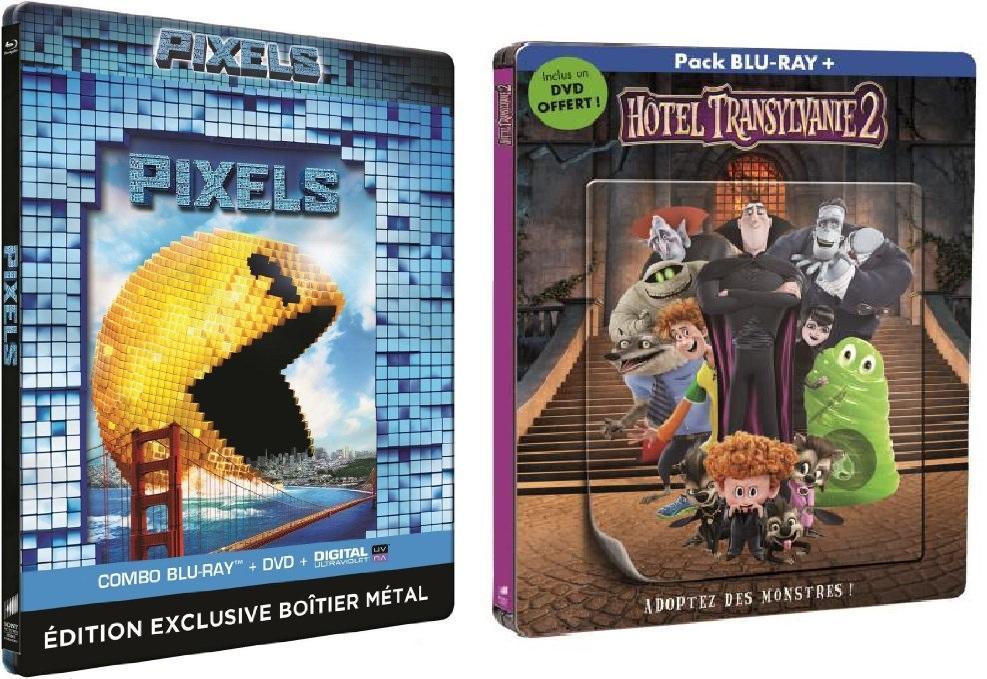 Coffret Pixels Blu-ray + DVD Steelbook + Hôtel Transylvanie 2 Steelbook lenticulaire Blu-ray ou DVD