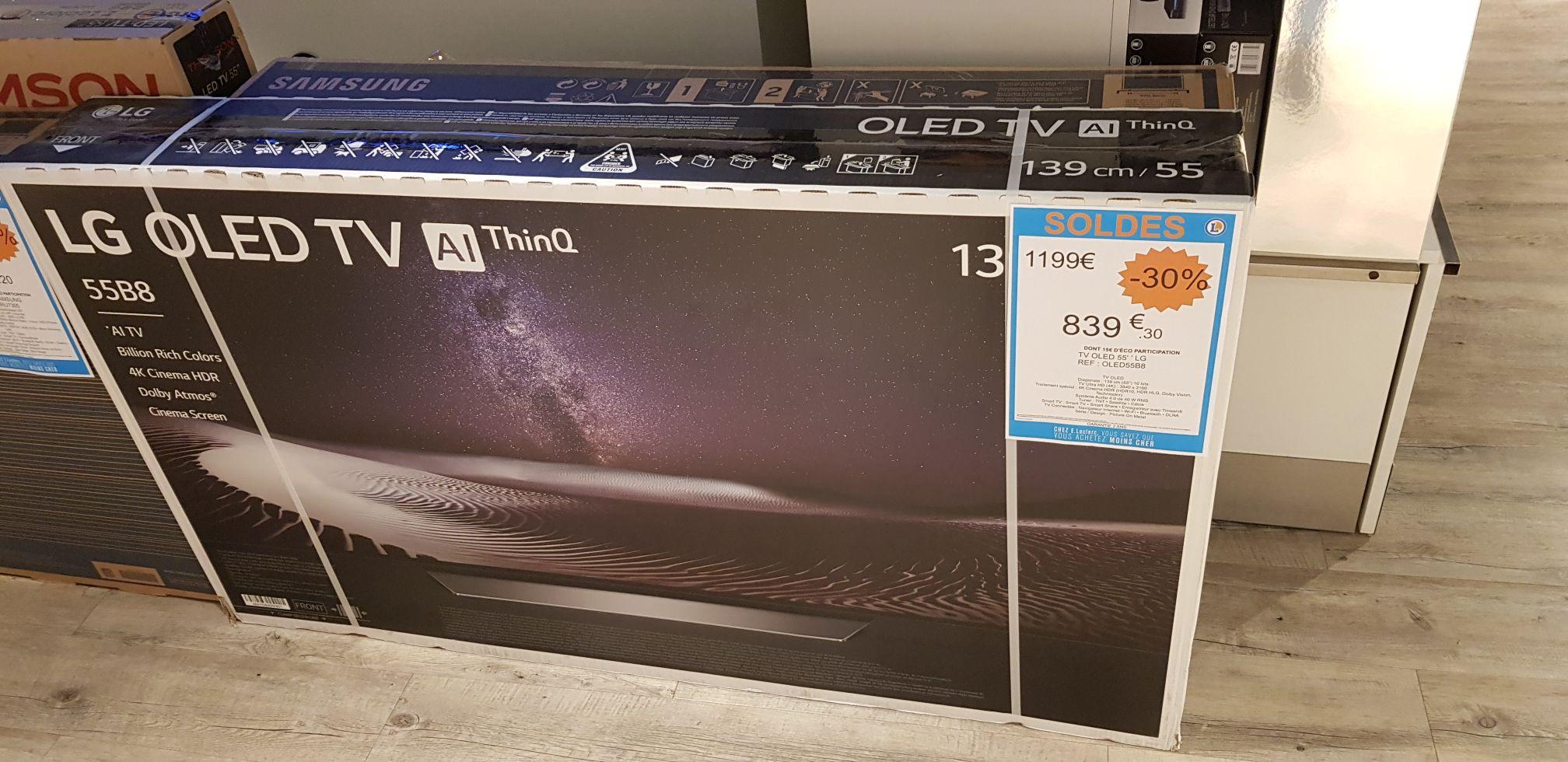 """Sélection de TV en promotion - Ex: TV 55"""" LG 55B8 - UHD 4K, OLED, HDR Dolby Vision, Son Dolby Atmos, Smart TV - Raon l'étape (88)"""