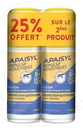 Lot de 2 Lotions de Protection Quotidienne Apaisyl Répulsif Anti-Moustiques - 2 x 90ml