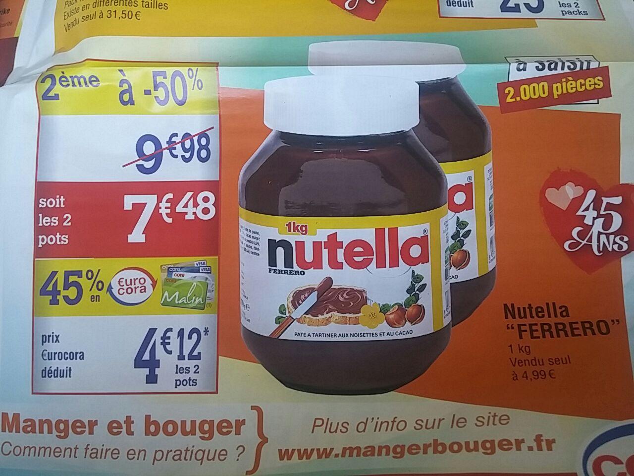 Lot de 2 Pots de 1 Kg de Nutella (avec 3.36€ sur la carte)