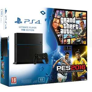 Console Sony PS4 1 To + GTA 5 + PES 2016
