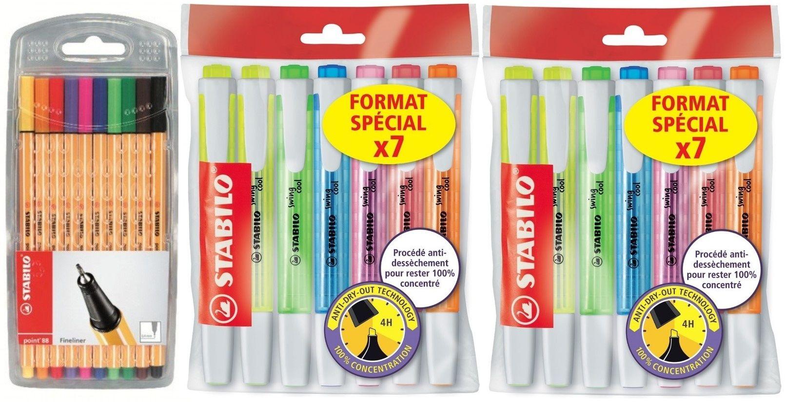 Paquet de stylo feutres Stabilo Point 88 + 2 paquets de surligneur Stabilo Ecopack Swing Cool (Via 6,83€ sur carte fidélité + ODR Quoty)