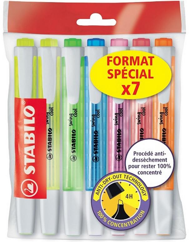 Sélection de fournitures scolaires en promotion - Ex : Lot de 7 surligneurs Stabilo (Via 2,35 € sur la carte de fidélité)