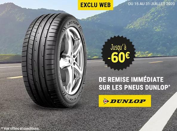 Jusqu'à 15€ de réduction par pneu sur la marque Dunlop - Ex : Pneu été Sport BluResponse (205/55 R16 91V)