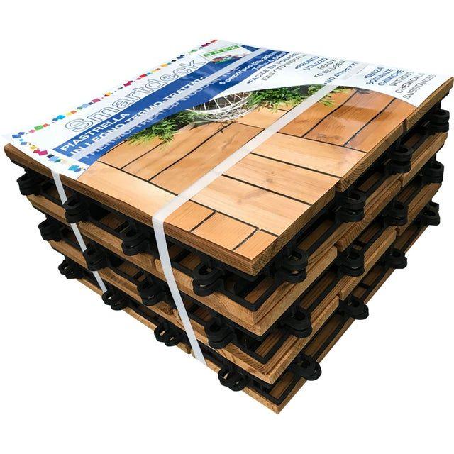 Lot de 6 dalles bois Thermowood Smardeck, 30x30 cm, épaisseur de 25 mm - Vitry-sur-Seine (94)