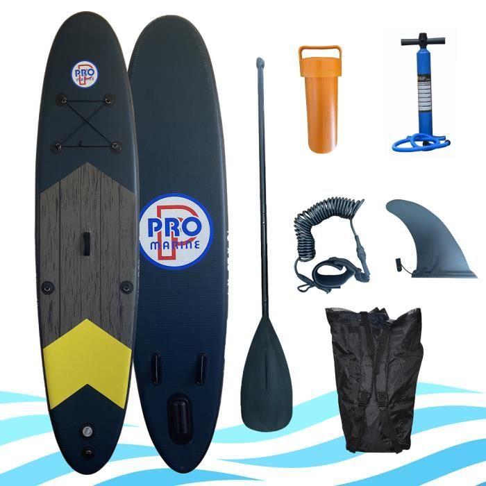 Pack Stand-up Paddle Gonflable Pro Marine (305x76x12) + Pagaie + Pompe + Sac + Kit de réparation (divers coloris)