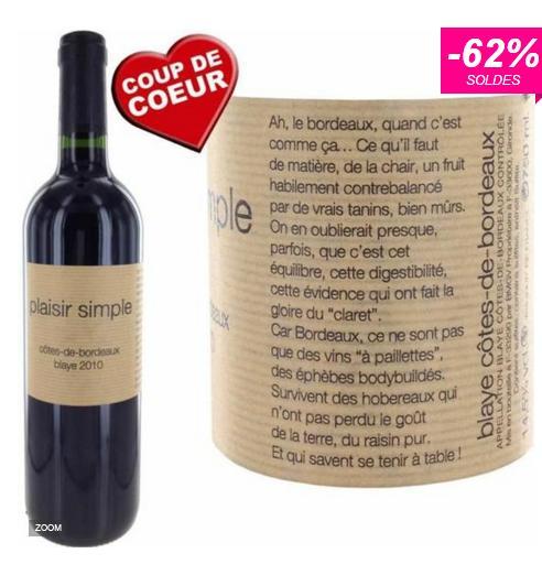 Bouteille de vin rouge Plaisir Simple 2010 - 75cl