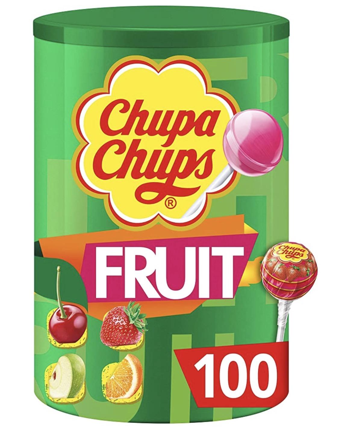 100 sucettes aux fruits ou lait Chupa Chups - 1,2 kg