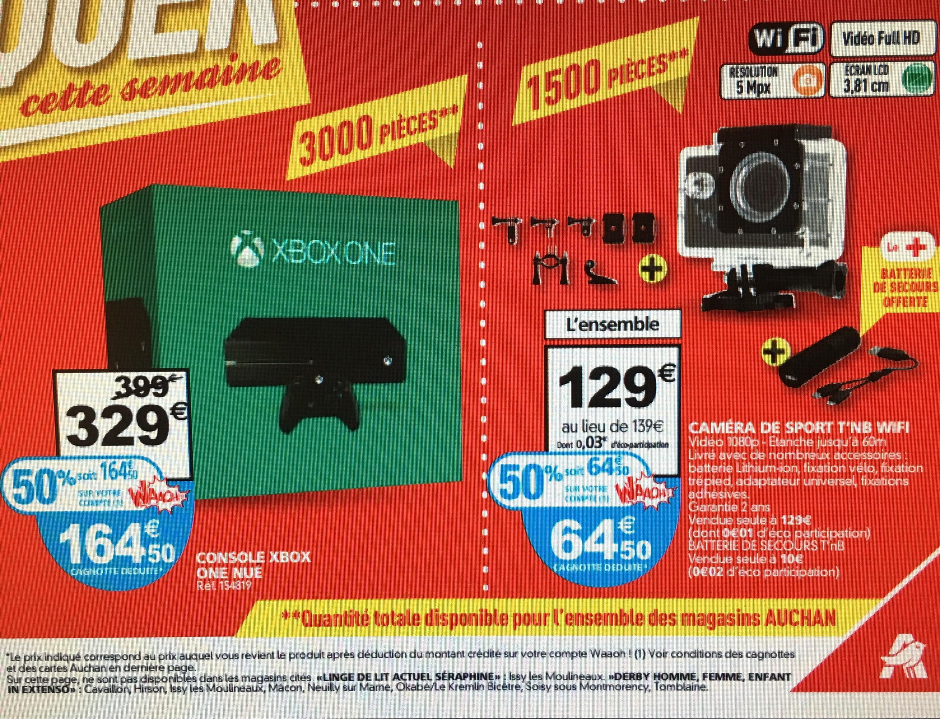 Console Microsoft Xbox One 500 Go (via 164.50€ en waooh)