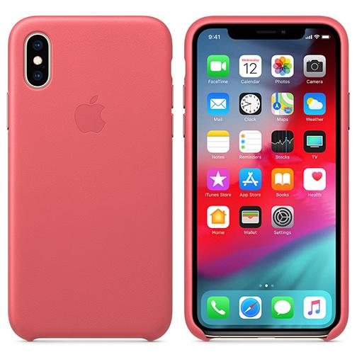 Coque en Cuir pour Apple iPhone XS - Rose