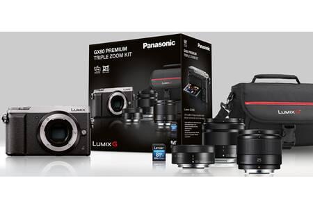 Pack appareil photo Panasonic Lumix DMC-GX80 (16 Mpix) + objectifs 12-32 + 25 + 35-100 mm + carte SD (8 Go) + étui