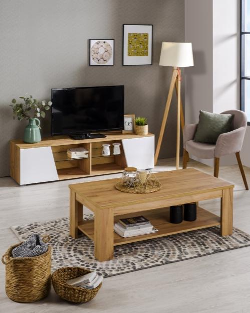 Meuble TV Max - Chêne/blanc, 162 x 42 x 42 cm