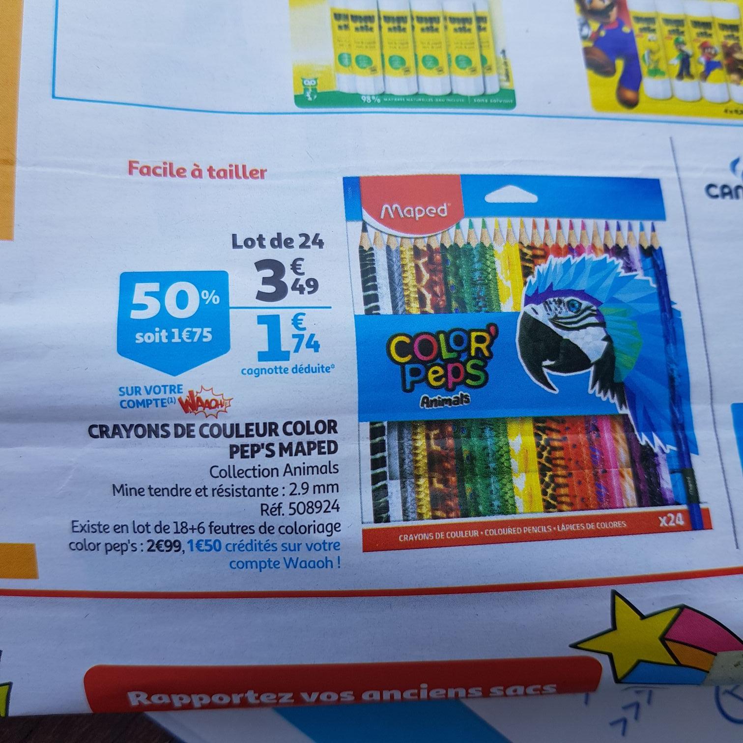Paquet de 24 crayons de couleur Maped Color'Peps Animals (via 1.75€ sur la carte de fidélité)