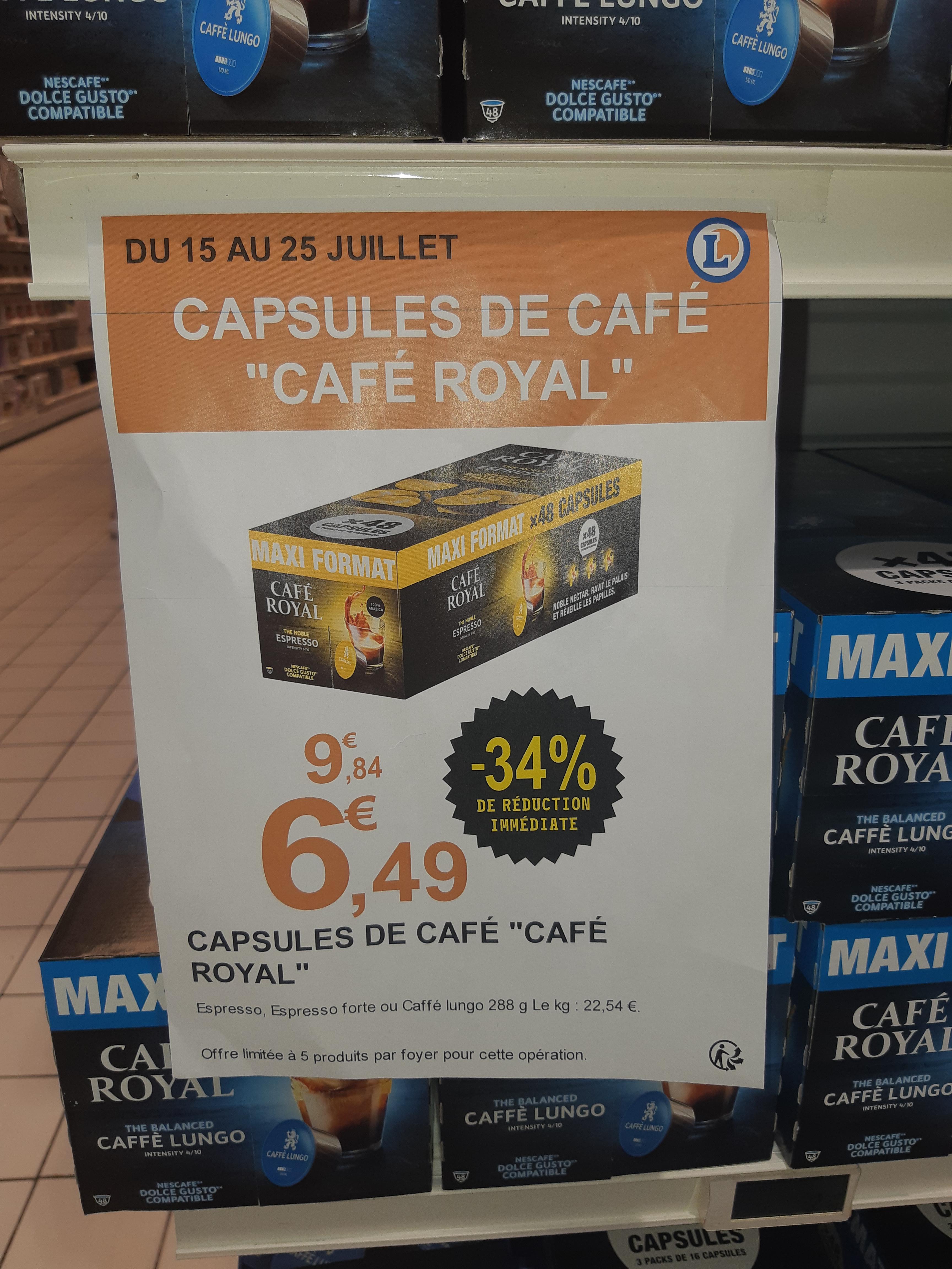Pack de 48 Capsules de café Dolce Gusto Café Royal