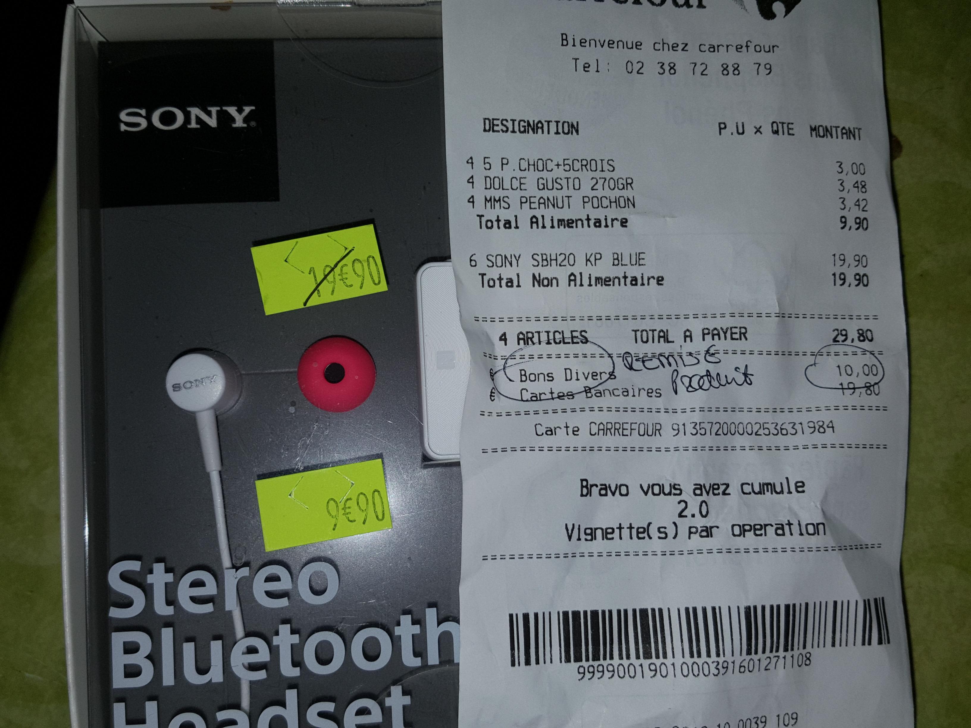 Écouteurs stéréo Bluetooth NFC Sony SBH20 - Blanc