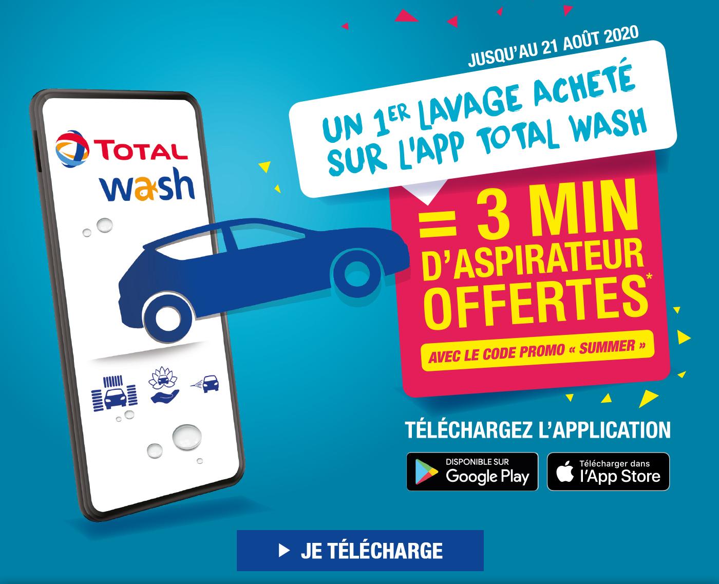 [Nouveaux Clients] 3 minutes d'aspirateur offertes pour tout 1er lavage Total Wash acheté (Via l'application)