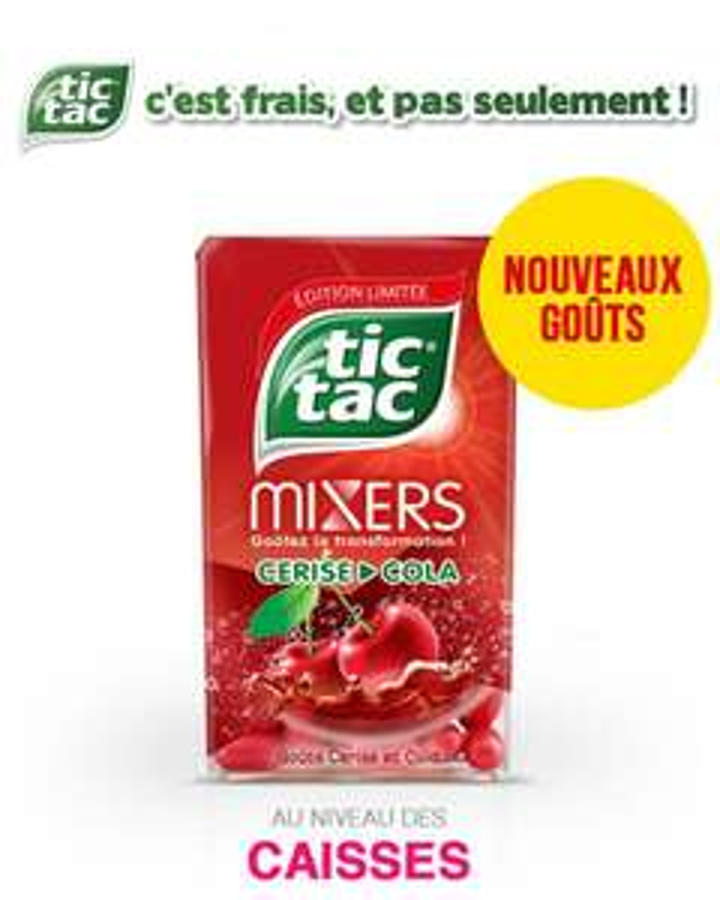 Une boîte de Tic Tac Mixers goût cerise et cola (via shopmium)