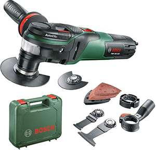 Outil multifonctions Bosch PMF 350 CES - 350W, livrés avec accessoires, interface Starlock et Starlockplus