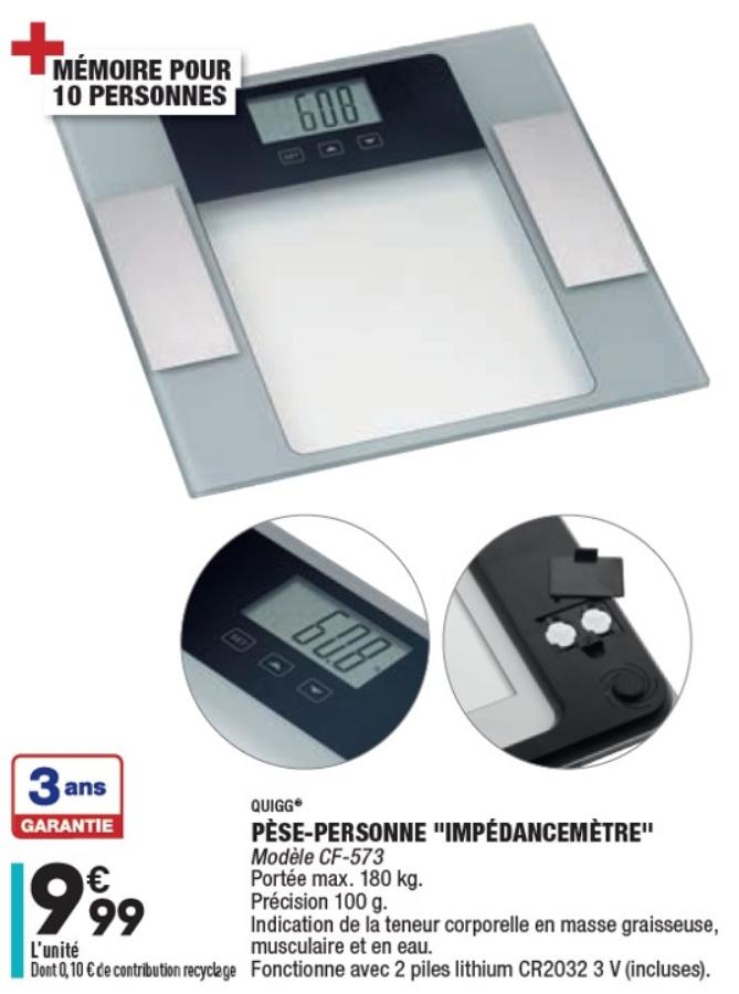 Pèse-personne impédancemètre - max 180 Kg