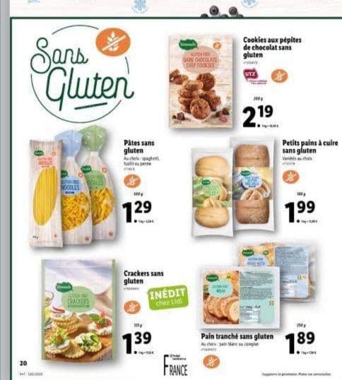 Sélection de produits sans Gluten