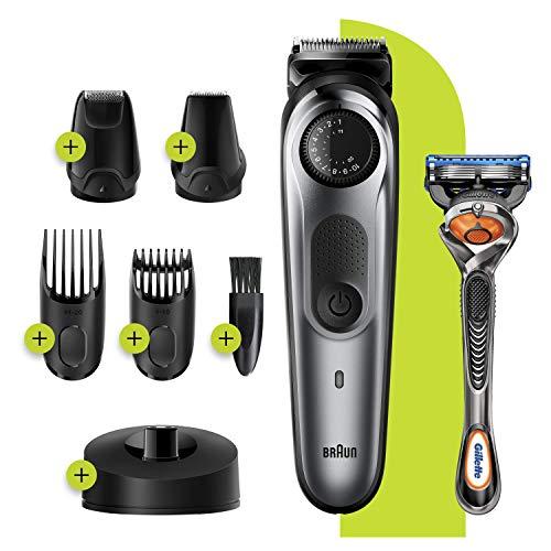 Pack tondeuse à barbe Braun BT7240 - avec accessoires et rasoir à lames Gillette Fusion 5 ProGlide