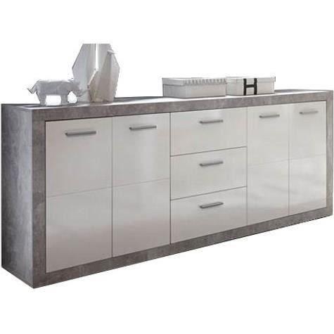 Buffet contemporain Stone décor béton et blanc brillant - 206 cm