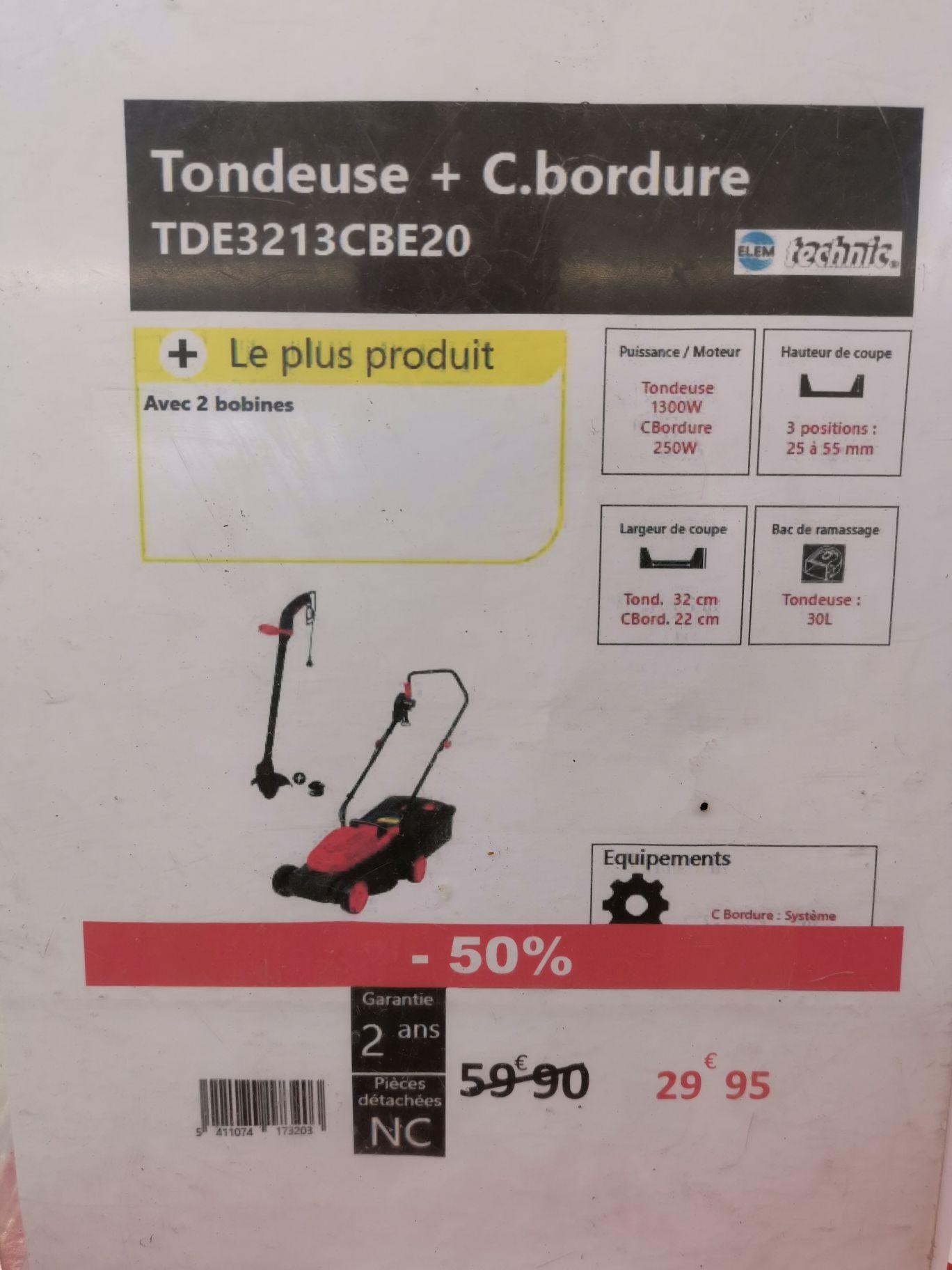 Tondeuse + Coupe bordure TDE3213CBE20 - Nantes Beaujoire (44)