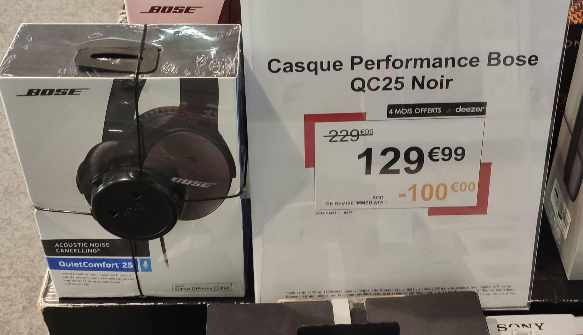 Casque Audio Bose QuietComfort 25 QC25 à réduction de bruit compatible Apple (Noir) - Belfort (90)