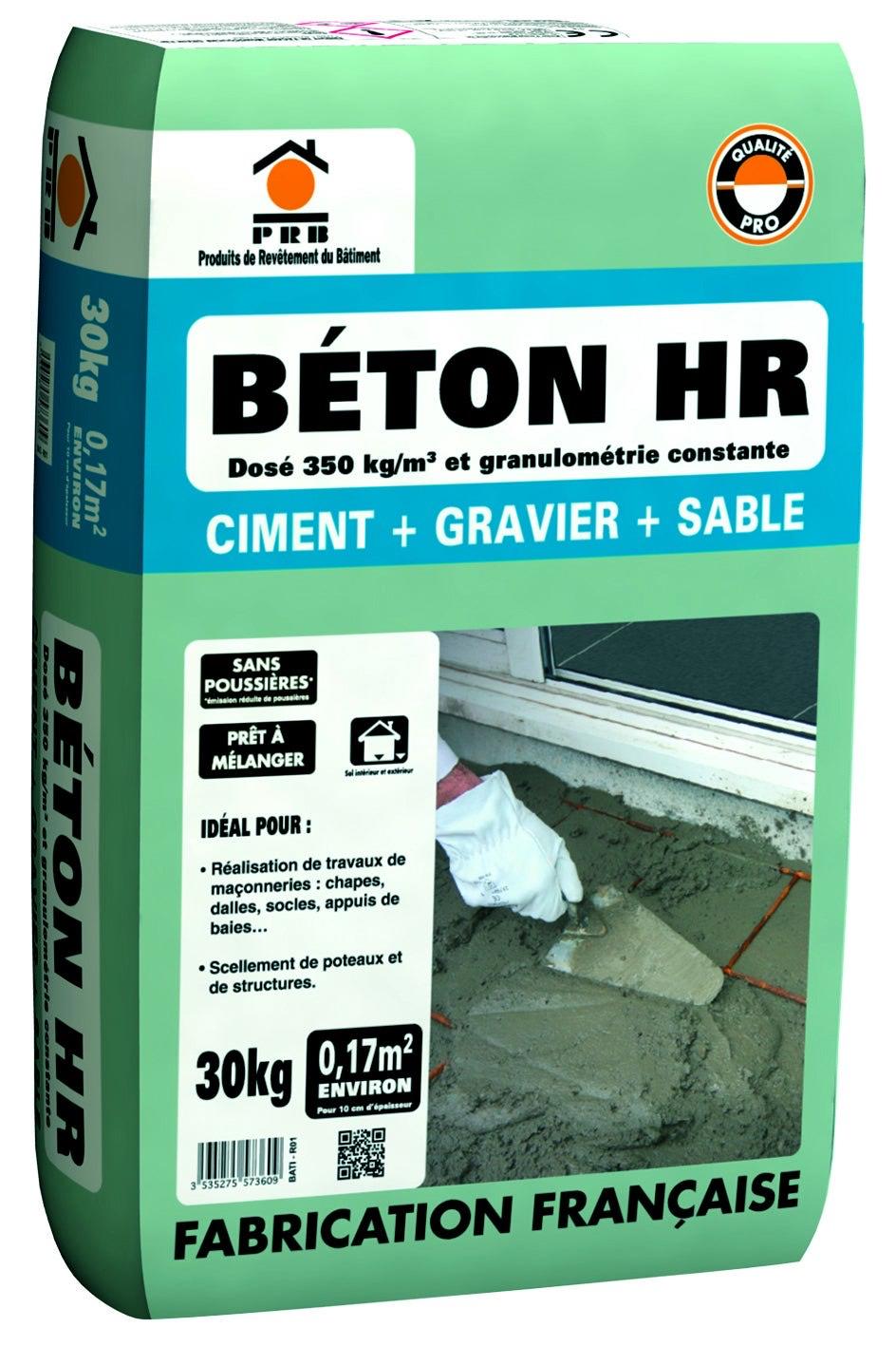 Sac Béton HR sans poussière gris PRB - 30 kg
