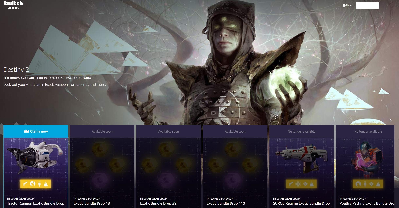 [Membres Twitch / Amazon Prime] Contenu offert pour Destiny 2 : Canon tracteur sur PC / Xbox One & PS4 (Dématérialisé)