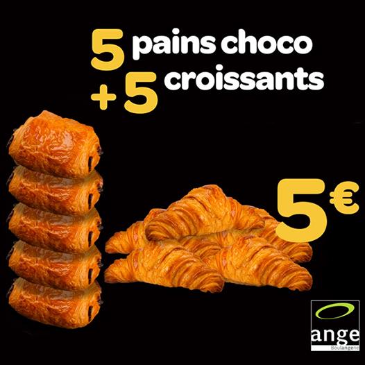 5 pains chocolat + 5 croissants pour 5 € - Boulangerie Ange Vert Saint Denis (77)