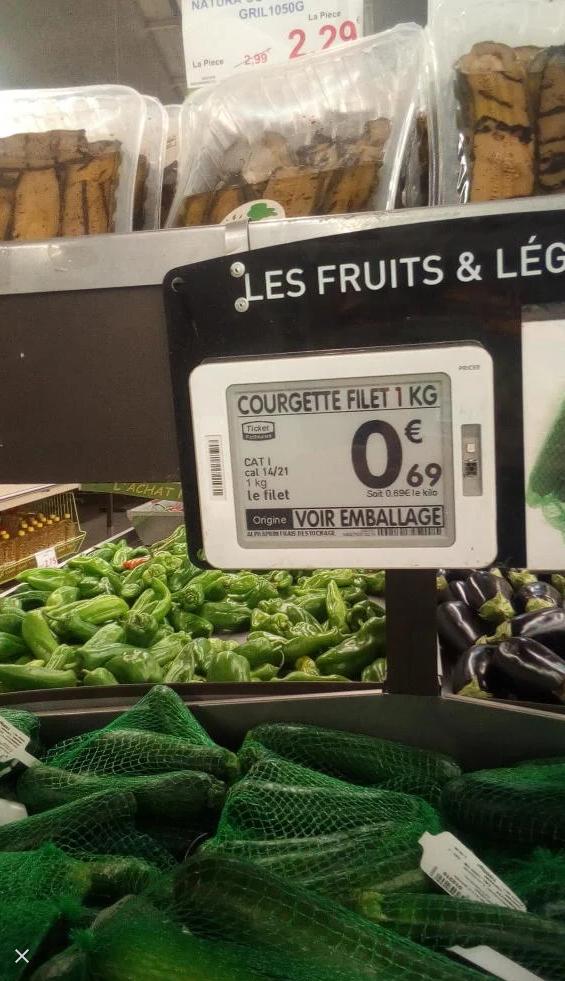 Filet de Courgettes - 1 Kg, Origine Espagne, Catégorie 1 - O' Marché Goussainville (95)