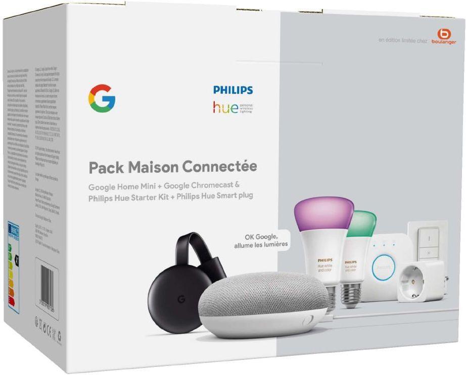 Pack Maison Connectée : 2 Ampoules Philips Hue White & Color + Dim Switch + Pont + Prise + Google Home Mini + Chromecast 3