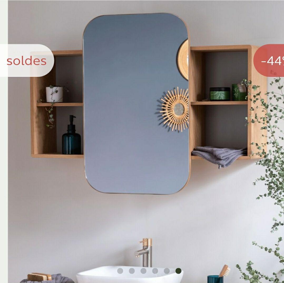 Miroir rangeant coulissant en chêne - 100cm