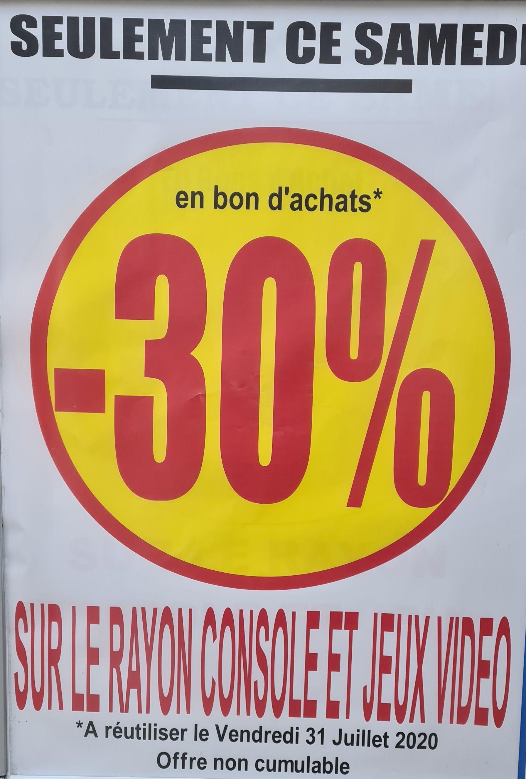 30% offerts en bon d'achat sur les Jeux vidéo et Consoles (Mareuil-lès-Meaux 77)