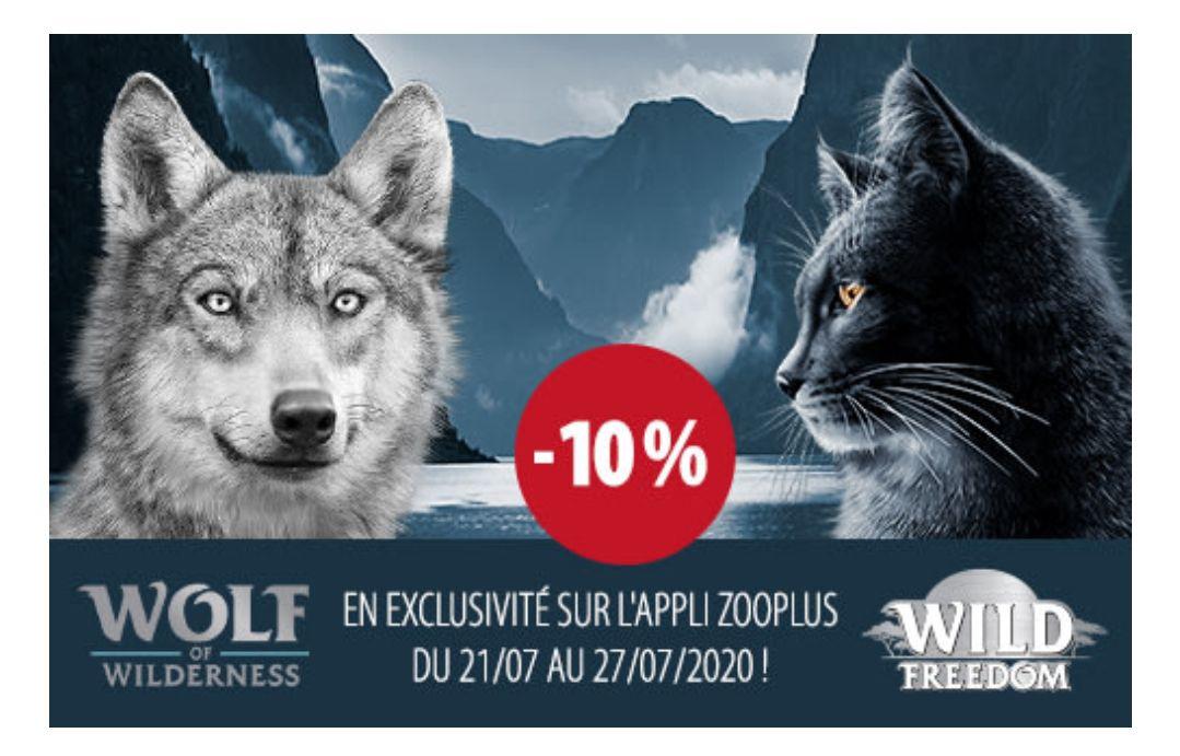 10% de remise sur la gamme chien Wolf of Wilderness ou chat Wild Freedom (via l'application)