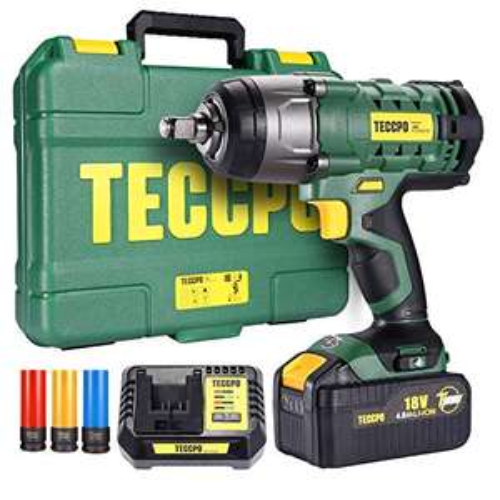Clé à choc Sans-Fil, Teccpo - 350Nm + Batterie 4.0Ah + Boîte de Rangement + Accessoires (Via Coupon - Vendeur Tiers)