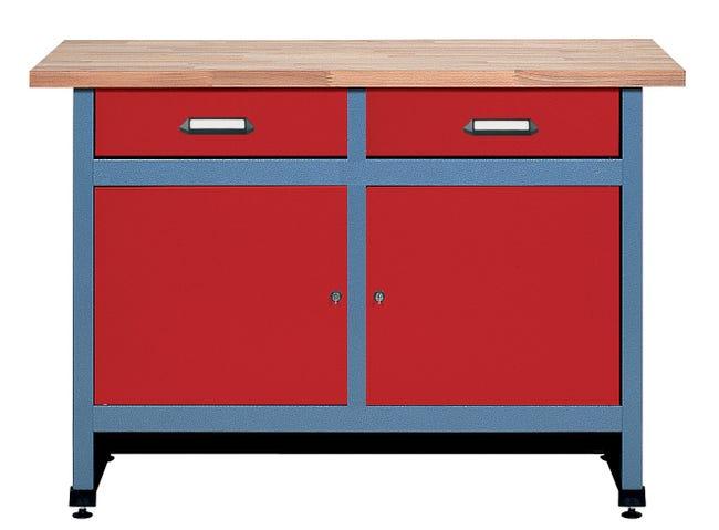 Établi de mécanicien Kupper - 120 x 84 x 60 cm, rouge
