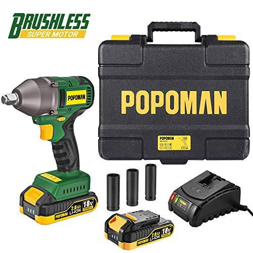 Clé à chocs sans fil Popoman - Brushless, 18V, Couple 350Nm + Batterie 2.0Ah + 3 Douilles à Chocs (Vendeur Tiers)