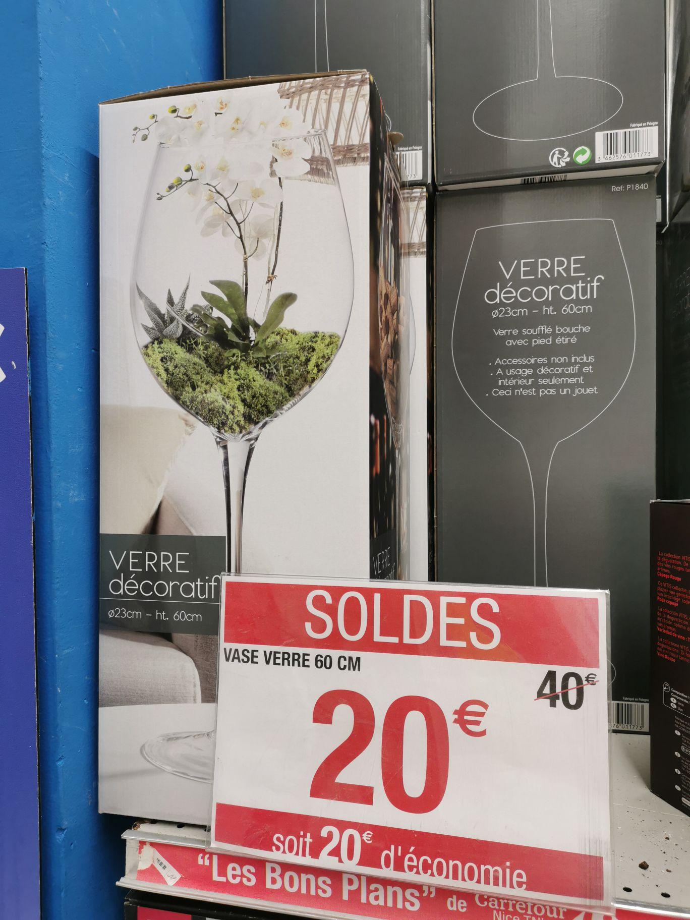 Vase verre décoratif - 60cm de hauteur - Nice TNL (06)