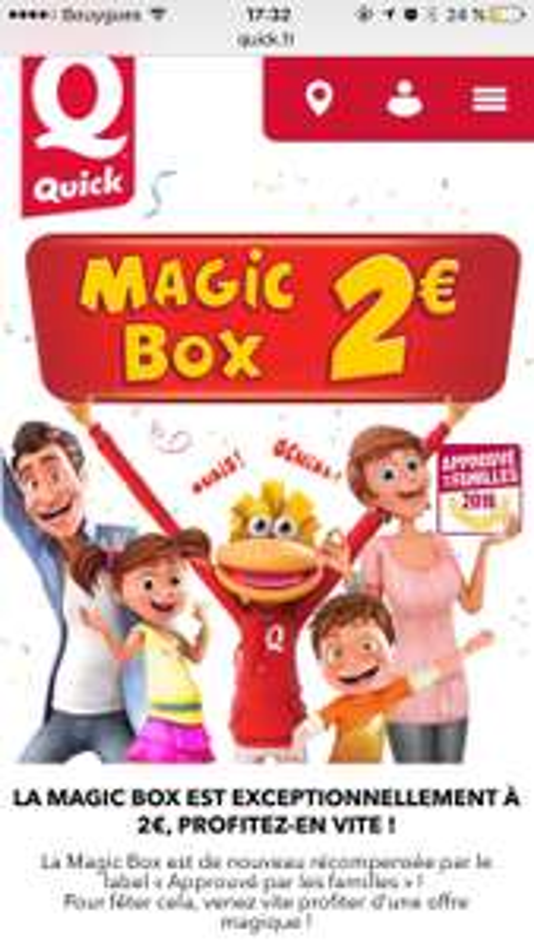 Magic Box à 2€ pour l'achat d'un Menu Adulte