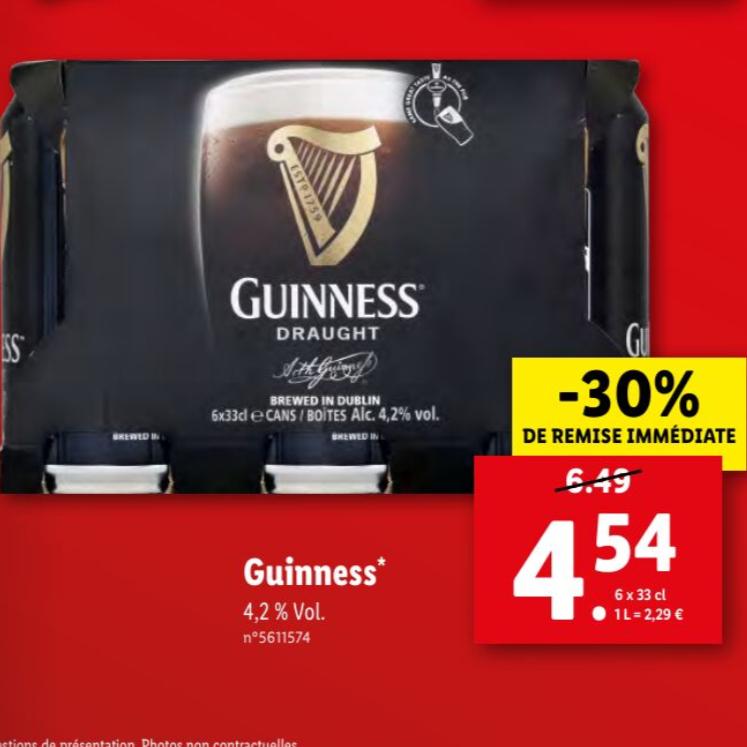 Pack de 6 Bières Guiness Draught - 6 x 33 cl