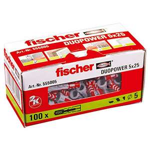 100 Chevilles Fischer Duopower 5x25mm