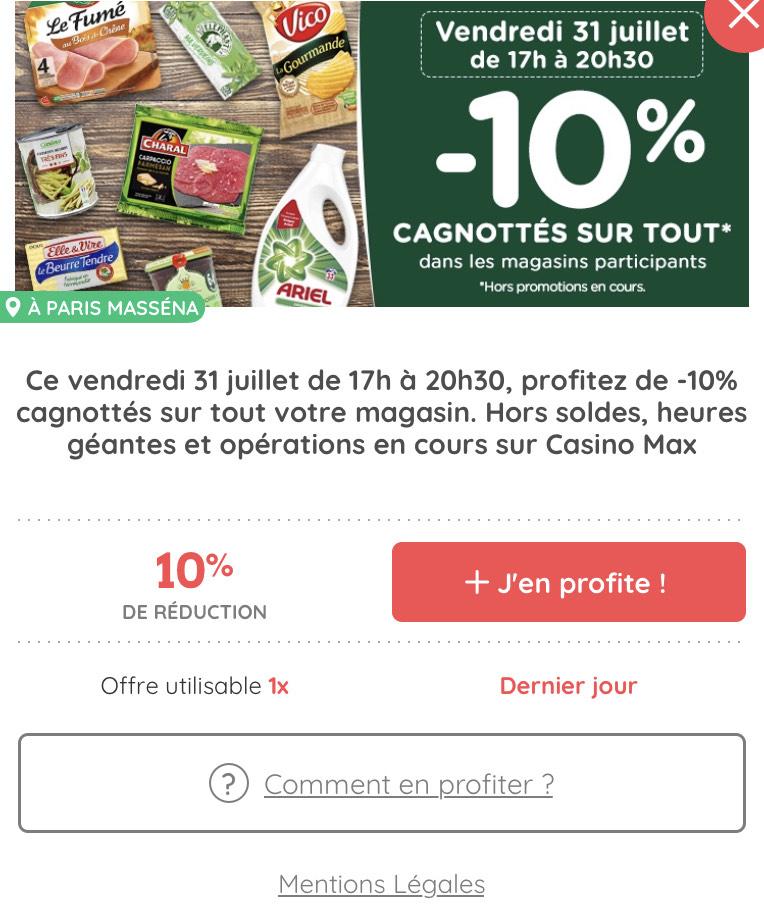 [Casino Max] De 17h à 20h30 : 10% cagnottés sur la carte fidélité