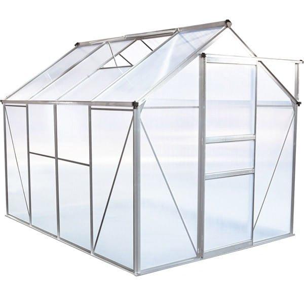 Serre de jardin en polycarbonate - 4,79m2, Structure aluminium, lucarne de toit