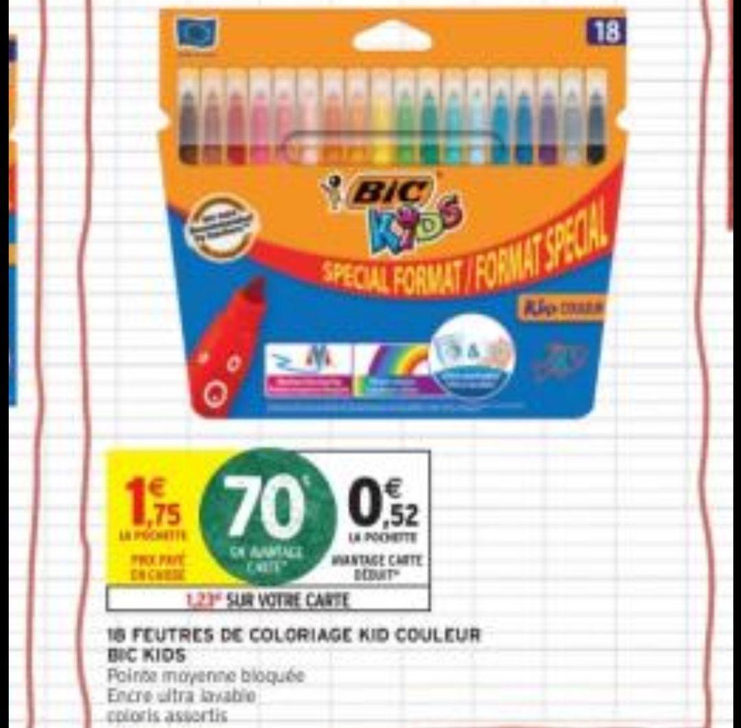 Sélection de fournitures scolaires en promotion - Ex: Lot de 18 feutres de coloriage lavables Bic Kid (Via 1,2 € sur la carte Fidélité)